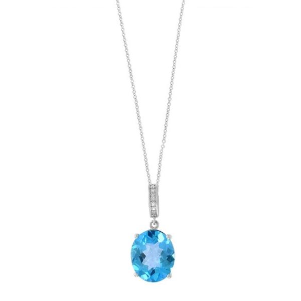 エフィー レディース ネックレス・チョーカー・ペンダントトップ アクセサリー 14K White Gold Blue Topaz & Diamond Pendant Necklace BLUE