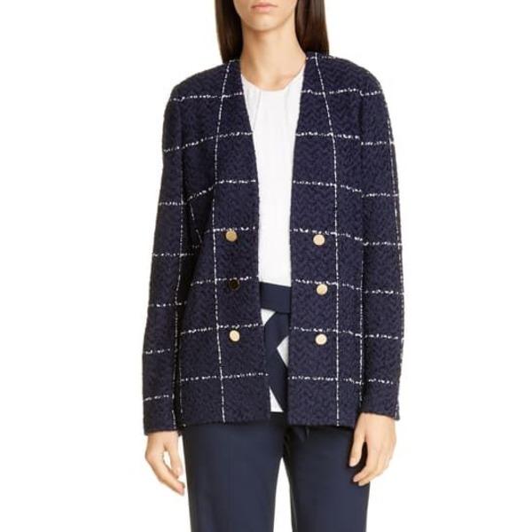 Jacket ジョン Knit Herringbone セント Grid コレクション Faux レディース NVWH ジャケット&ブルゾン Button Double アウター