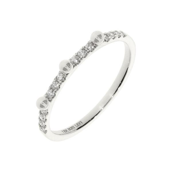 ボニー レヴィ レディース アクセサリー リング 18KW 全商品無料サイズ交換 18K お得なキャンペーンを実施中 White Stackable Gold 驚きの値段で 0.12 Diamond Ring Beaded - ctw Accent