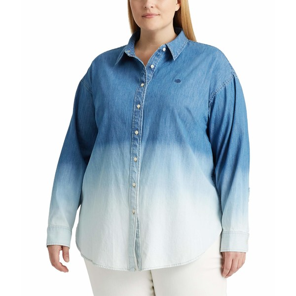 ラルフローレン レディース シャツ トップス Plus Size Ombr Denim Shirt Dipped Indigo Wash