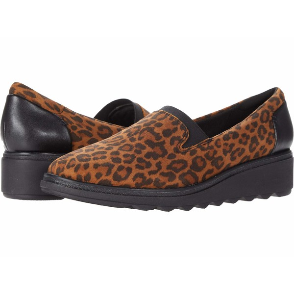 クラークス レディース スリッポン・ローファー シューズ Sharon Dolly Dark Tan Leopard Print Suede