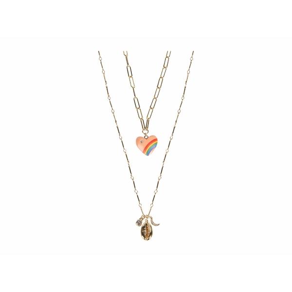 レベッカミンコフ レディース ネックレス・チョーカー・ペンダントトップ アクセサリー Rainbow Heart Layer Necklace Gold/Multi