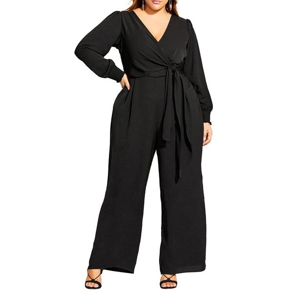 シティーシック レディース ワンピース トップス Synthesis Long Sleeve Jumpsuit Black