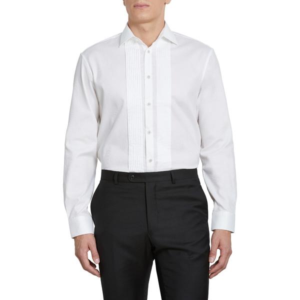 ジョンバルベイトス スター ユーエスエー メンズ シャツ トップス Regular Fit Stretch Solid Tuxedo Shirt White