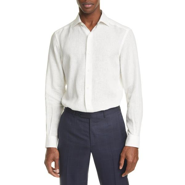 エルメネジルド・ゼニア メンズ シャツ トップス Classic Fit Washed Linen Button-Up Shirt White