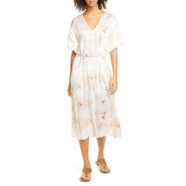 ヴィンス レディース ワンピース トップス Painted Magnolia Tie Waist Midi Dress Off White