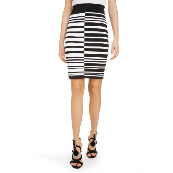 バルマン レディース スカート ボトムス Contrast Stripe Jacquard Miniskirt Eab Noir/ Blanc