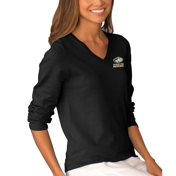 ビンテージアパレル レディース シャツ トップス Michigan Tech Huskies Women's Clubhouse V-Neck Sweater Black