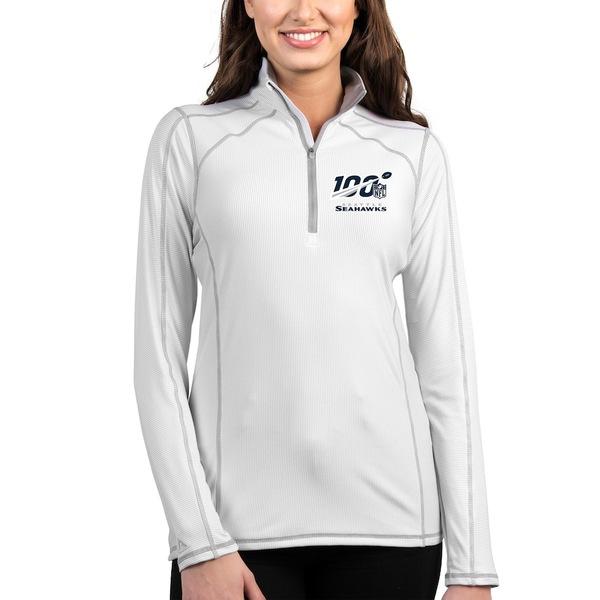 アンティグア レディース ジャケット&ブルゾン アウター Seattle Seahawks Antigua Women's NFL 100 Tempo Half-Zip Pullover Jacket White/Silver