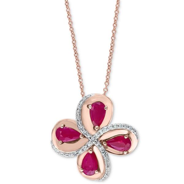 【初売り】 エフィー コレクション レディース ネックレス・チョーカー・ペンダントトップ アクセサリー EFFY® Ruby (7/8 ct. t.w.) & Diamond (1/10 ct. t.w.) Flower 18