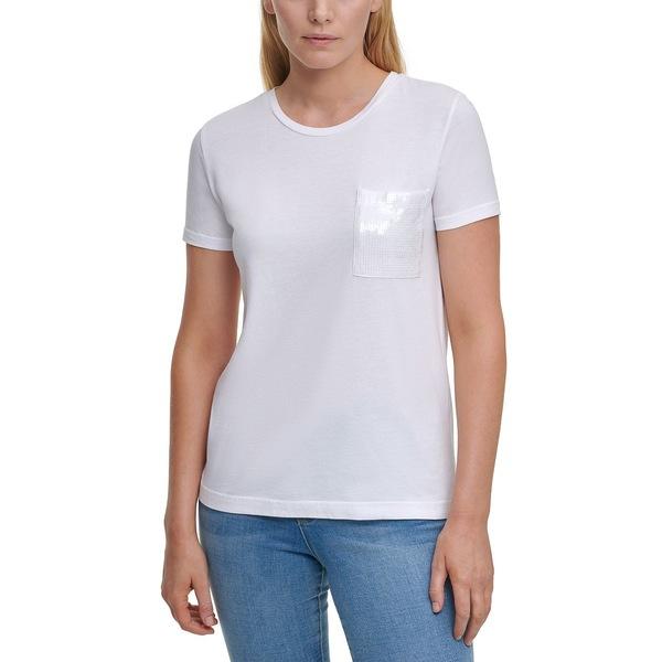 ダナ 本物 キャラン ニューヨーク レディース トップス 全商品無料サイズ交換 ランキングTOP10 T-Shirt White Sequin-Pocket Tシャツ