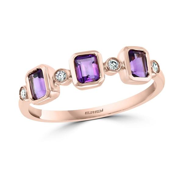 玄関先迄納品 エフィー コレクション レディース リング アクセサリー EFFY® Amethyst (1 アクセサリー/2 Rose 14k ct. t.w.) & Diamond (1/20 ct. t.w.) Statement Ring in 14k Rose Gold Amethyst, 防犯カメラのアストップケイヨー:f3cf076f --- superbirkin.com