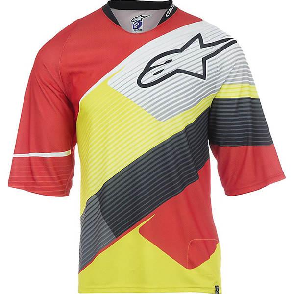 アルパインスターズ メンズ サイクリング スポーツ Alpine Stars Men's Depth 3/4 Jersey Red / White / Acid Yellow