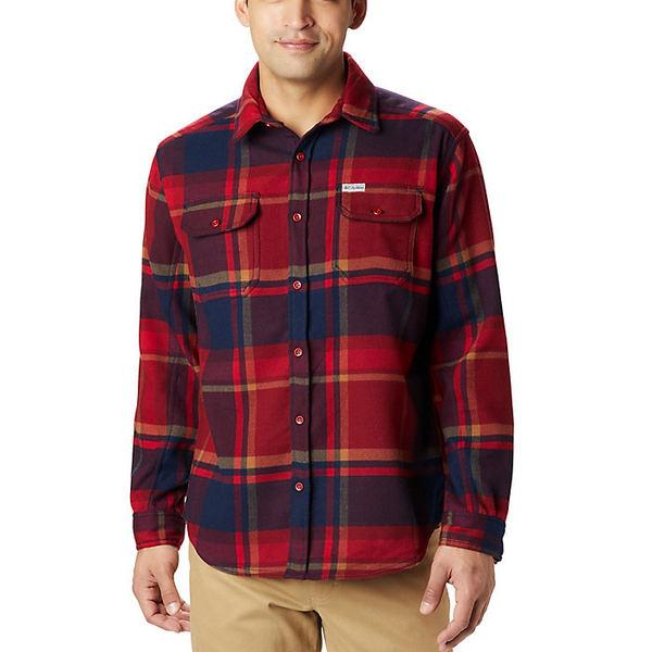 コロンビア メンズ ハイキング スポーツ Columbia Men's Deschutes River Heavyweight Flannel Shirt Red Jasper Oversized Check