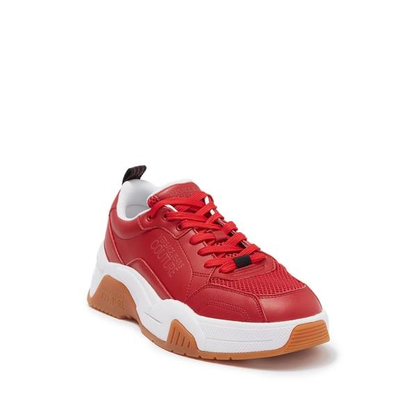 春の新作続々 ヴェルサーチ メンズ シューズ スニーカー RED Top 期間限定今なら送料無料 Sneaker Leather 全商品無料サイズ交換 Low