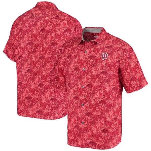 トッミーバハマ メンズ シャツ トップス Indiana Hoosiers Tommy Bahama Sport Jungle Shade Camp ButtonUp Shirt Crimson