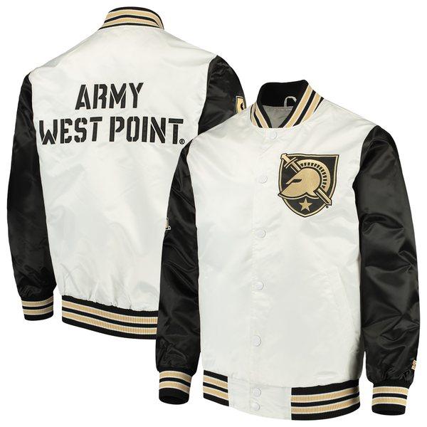 スターター メンズ ジャケット&ブルゾン アウター Army Black Knights Starter The Rookie Satin Jacket White