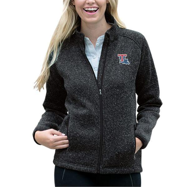 ビンテージアパレル レディース ジャケット&ブルゾン アウター Louisiana Tech Bulldogs Women's Summit Fleece Sweater Full-Zip Jacket Heather Black