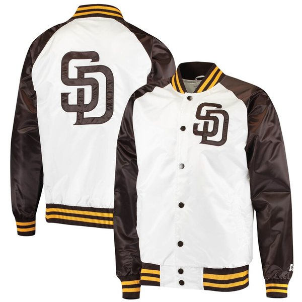 スターター メンズ ジャケット&ブルゾン アウター San Diego Padres Starter Clean-Up Hitter Full-Snap Jacket White/Brown