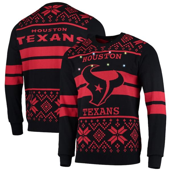 フォコ メンズ シャツ トップス Houston Texans Light Up Ugly Sweater Navy/Red