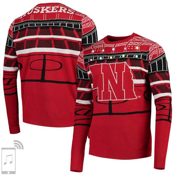 フォコ メンズ シャツ トップス Nebraska Cornhuskers College Bluetooth Light Up Sweater Scarlet