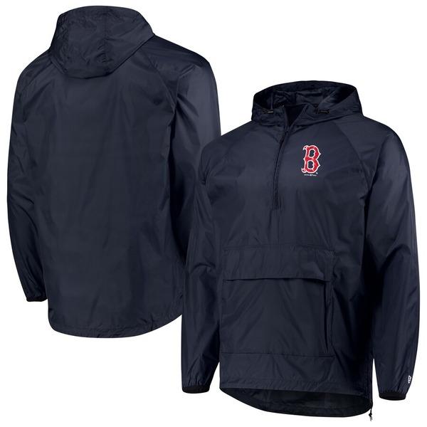 ニューエラ メンズ ジャケット&ブルゾン アウター Boston Red Sox New Era Anorak Packable 1/4-Zip Hoodie Jacket Navy