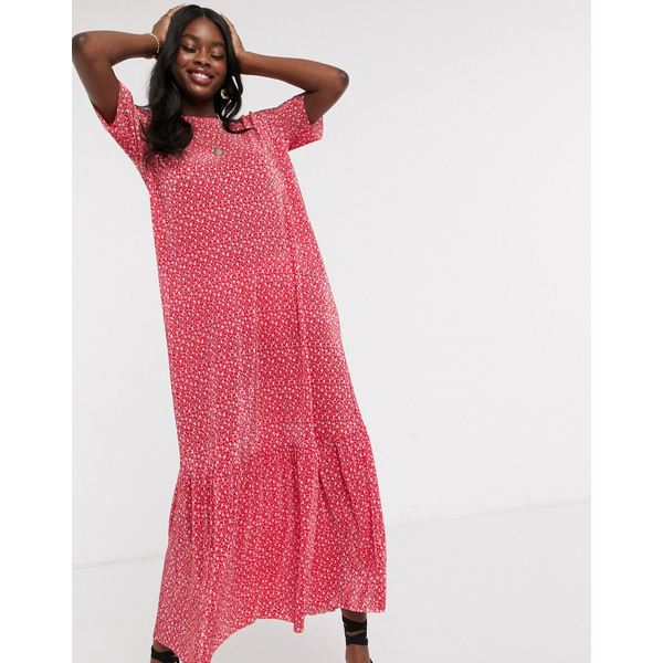 エイソス 超激安特価 レディース トップス ワンピース Red floral ditsy 全商品無料サイズ交換 plisse DESIGN ASOS t-shirt in 割り引き dress maxi red
