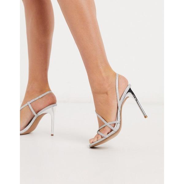 エイソス レディース ヒール シューズ ASOS DESIGN Notorious strappy heeled sandals in silver glitter Silver glitter