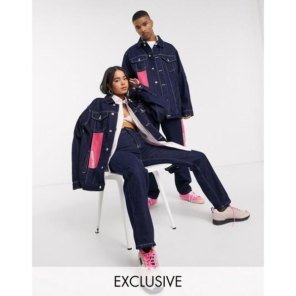 コリュージョン レディース コート アウター COLLUSION unisex plastisol branded denim jacket Blue