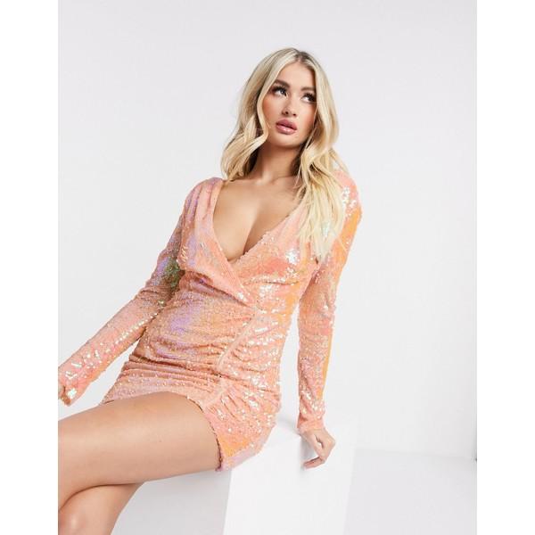 レア レディース トップス ワンピース お得クーポン発行中 Pink 全商品無料サイズ交換 Rare London plunge お中元 dress bodyon sequin in neck backless pink