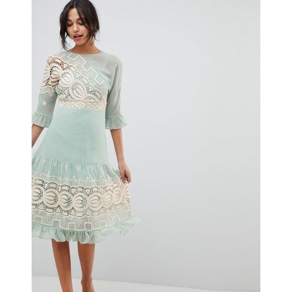 エイソス レディース ワンピース トップス ASOS DESIGN Premium Crochet Insert Midi Dress Mint green