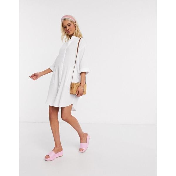 ジェイディーワイ レディース Tシャツ トップス JDY oversized textured shirt dress in white White