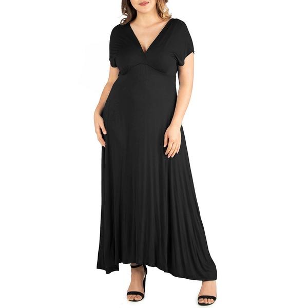 24セブンコンフォート レディース トップス ワンピース Black 全商品無料サイズ交換 Women's 日本最大級の品揃え Size Waist Plus Maxi Empire Dress 本物