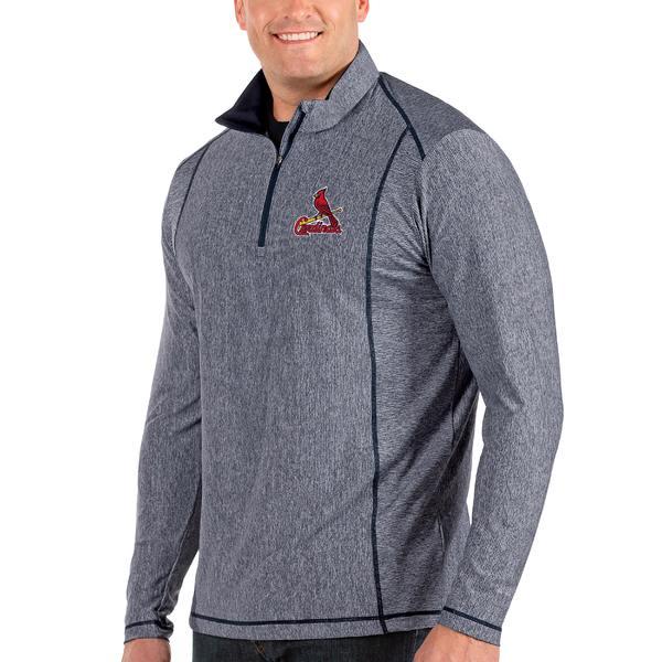 アンティグア メンズ ジャケット&ブルゾン アウター St. Louis Cardinals Antigua Tempo Big & Tall HalfZip Pullover Jacket Heather Navy
