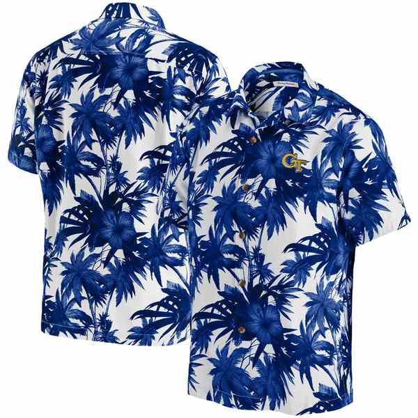 トッミーバハマ メンズ シャツ トップス Georgia Tech Yellow Jackets Tommy Bahama Harbor Island Hibiscus ButtonUp Shirt Navy