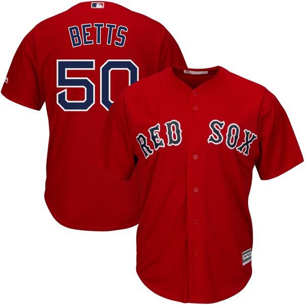 マジェスティック メンズ ユニフォーム トップス Mookie Betts Boston Red Sox Majestic Cool Base Player Jersey Gray