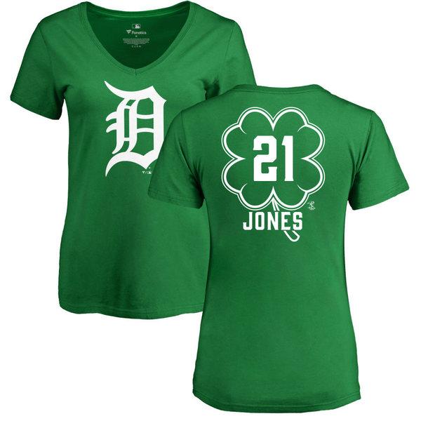 ファナティクス レディース Tシャツ トップス Detroit Tigers Fanatics Branded Women's Dubliner Personalized Name & Number VNeck TShirt Kelly Green