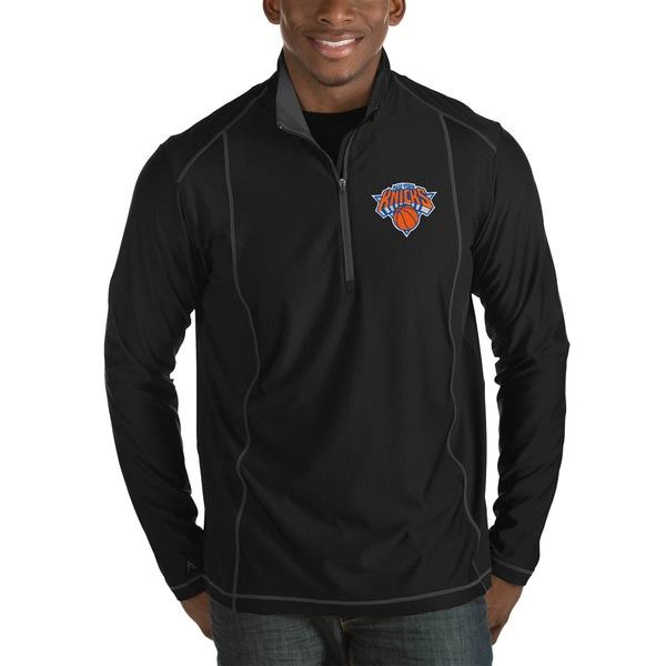 アンティグア メンズ ジャケット&ブルゾン アウター New York Knicks Antigua Tempo Big & Tall HalfZip Pullover Jacket Black