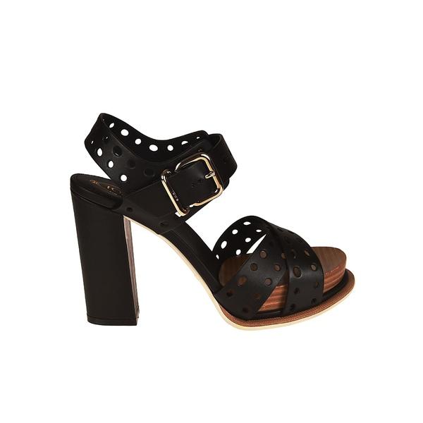 新しい季節 トッズ レディース サンダル シューズ Tod's Perforated Block Heel Sandals -, 小俣町 b33efaf7