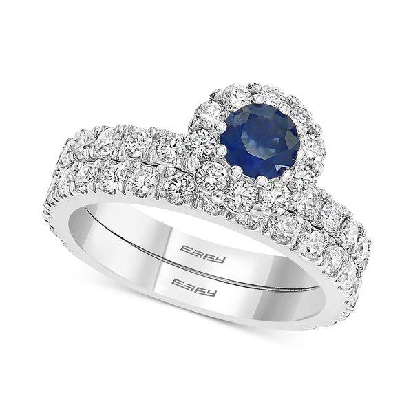 & コレクション Gold ct. t.w.) EFFY® ct. リング エフィー (1-1/2 White Set Bridal Sapphire in アクセサリー Gold (1/2 14k Diamond White t.w.) レディース