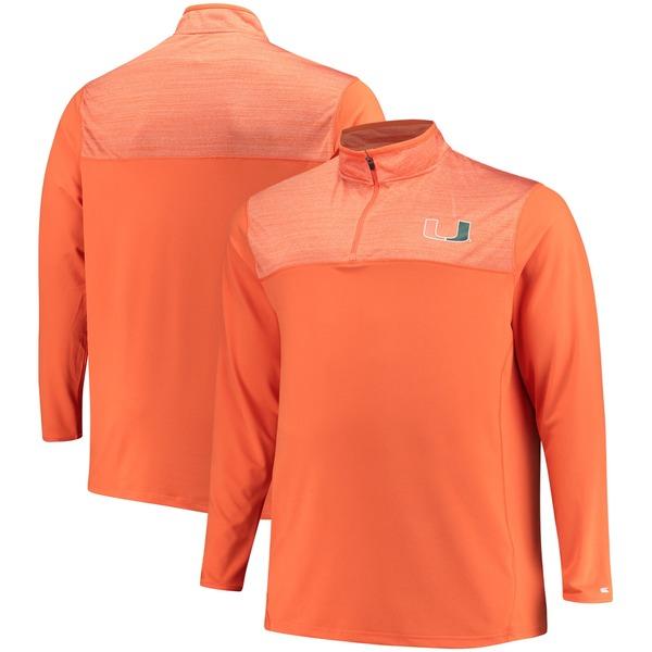 コロシアム メンズ ジャケット&ブルゾン アウター Miami Hurricanes Colosseum Big & Tall Savoy QuarterZip Pullover Jacket Orange/Heathered Orange