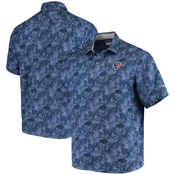 トッミーバハマ メンズ シャツ トップス Houston Texans Tommy Bahama Sport Jungle Shade Camp ButtonDown Shirt Navy