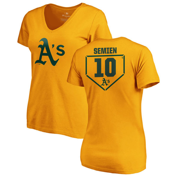 ファナティクス レディース Tシャツ トップス Oakland Athletics Fanatics Branded Women's Personalized RBI Slim Fit VNeck TShirt Gold