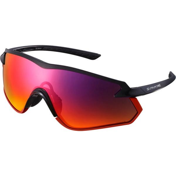シマノ メンズ サングラス・アイウェア アクセサリー S-PHYRE X Cycling Sunglasses - CE-SPHX1 Metallic Black/Optimal Pl Red