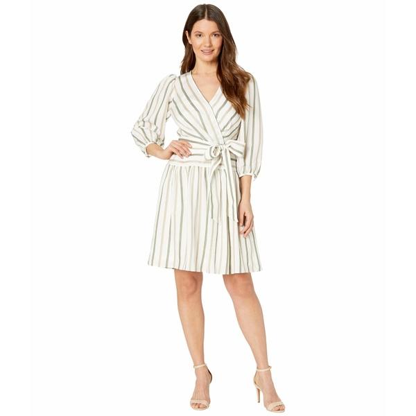 カルバンクライン レディース ワンピース トップス 3/4 Sleeve Belted Striped Dress Wheat/Caper Multi