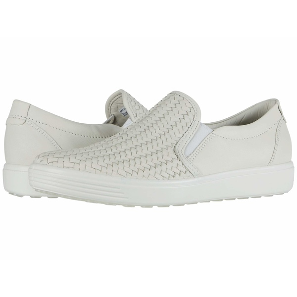 エコー レディース スニーカー シューズ Soft 7 Woven Slip-On II Shadow White Cow Leather
