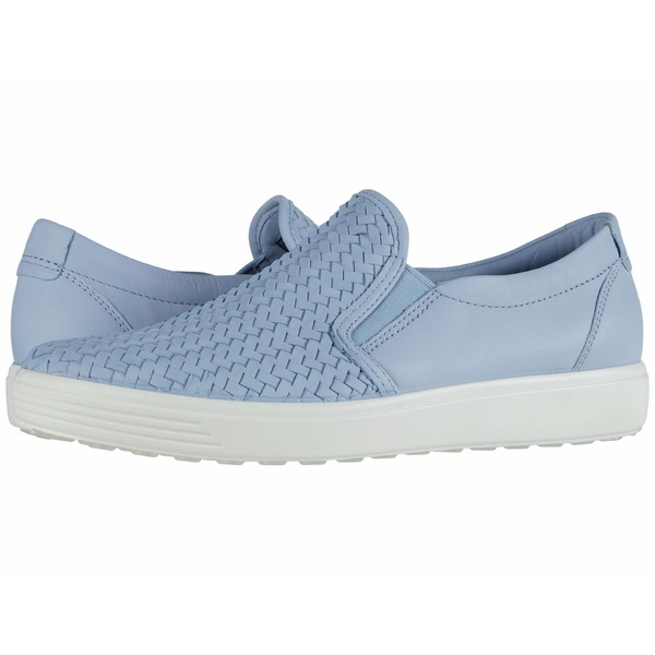エコー レディース スニーカー シューズ Soft 7 Woven Slip-On II Dusty Blue Cow Leather