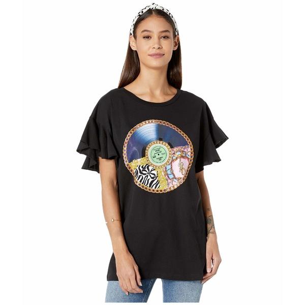 ブティックモスキーノ レディース シャツ トップス Record Print T-Shirt Black Multi
