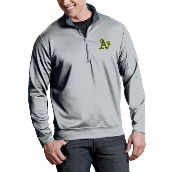 アンティグア メンズ ジャケット&ブルゾン アウター Oakland Athletics Antigua Leader Quarter-Zip Pullover Jacket Silver