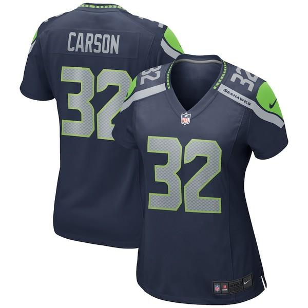 ナイキ レディース シャツ トップス Chris Carson Seattle Seahawks Nike Women's Game Jersey College Navy
